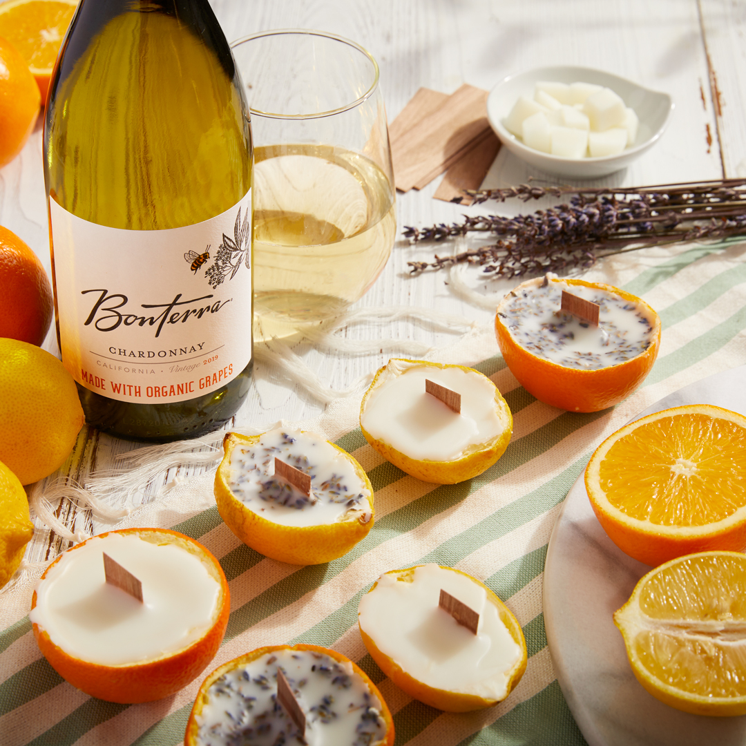 Bonterra Chardonnay with candles crafted from recycled orange peels